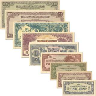 Japanese Banana Money Note Complete Set 1¢ - $1000
