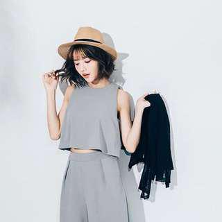 2 Two Piece Culottes (Sleeveless Crop Top + Culottes)