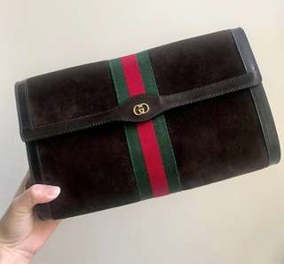 GUCCI Suede Brown Large Clutch Bag