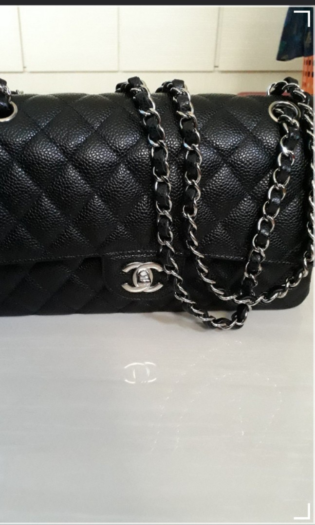 e52c87a6c95502 Year 2018 AUTHENTIC CHANEL Classic Double Flap Black Caviar Medium ...