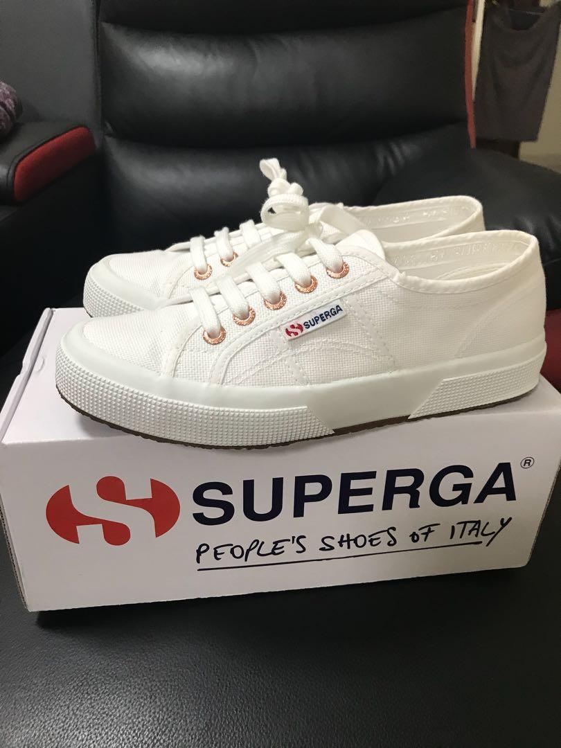 superga white and rose gold
