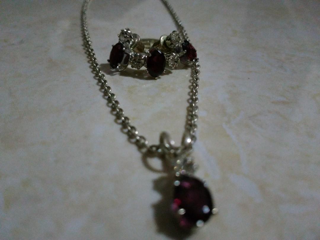 (Baru) set perhiasan silver asli