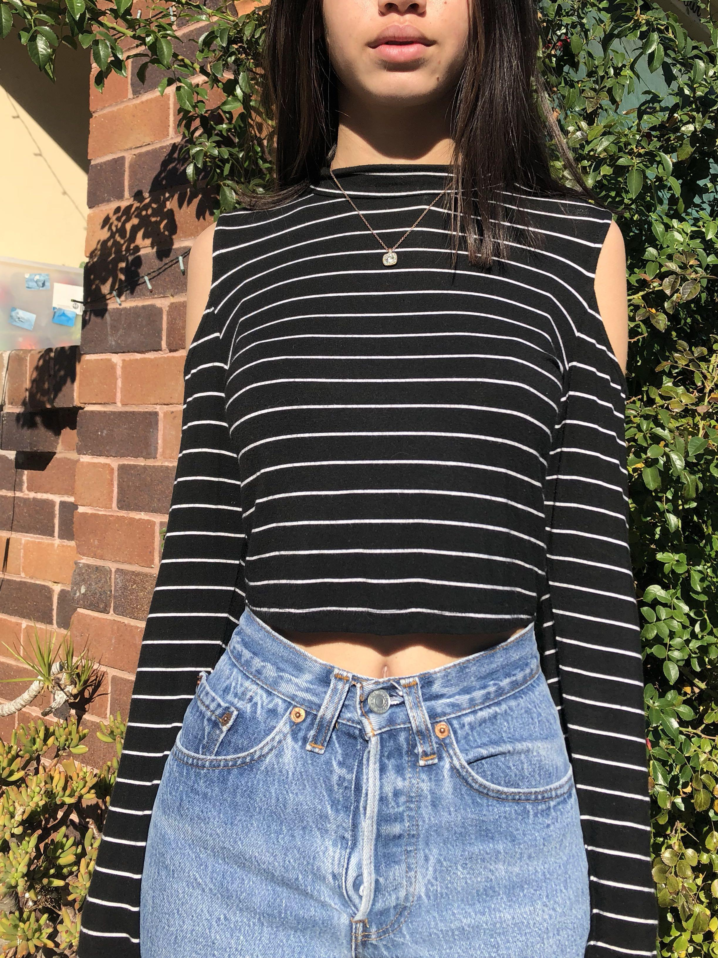 Black Long Sleeve Cold Shoulder Crop Top With White Stripes