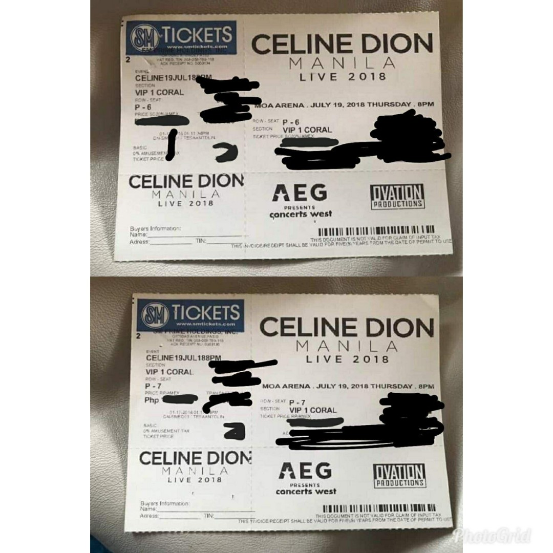 Celine Dion Vip 1 Coral Concert Tickets July 19 2018 8pm