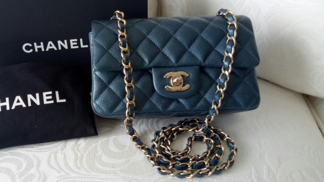 2a7490d4f4abc2 Chanel Mini Rectangular Caviar Pearly Blue, Luxury, Bags & Wallets, Handbags  on Carousell