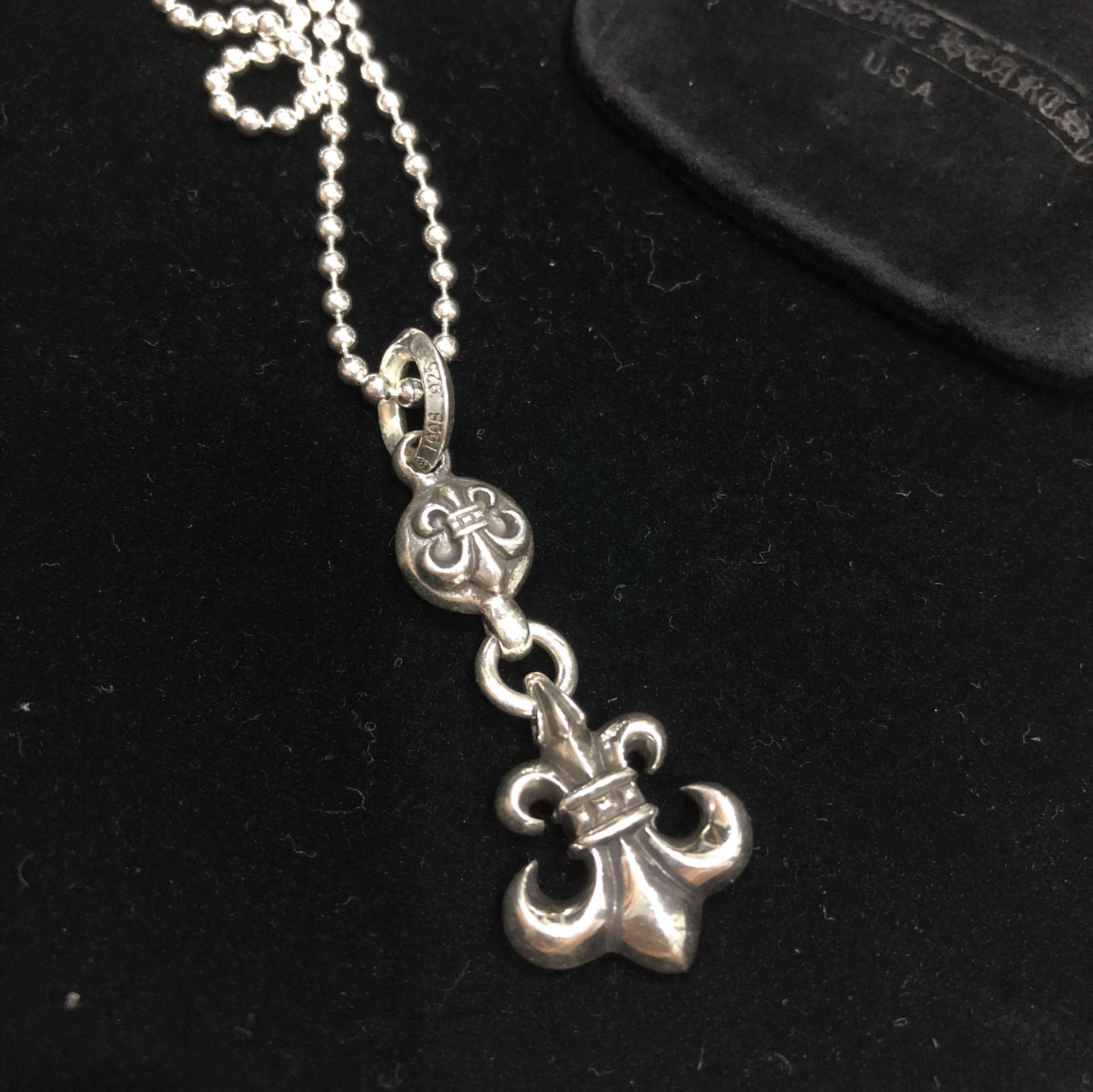 Chrome Hearts 925 Silver Fleur De Lis Pendant With Ball Chain