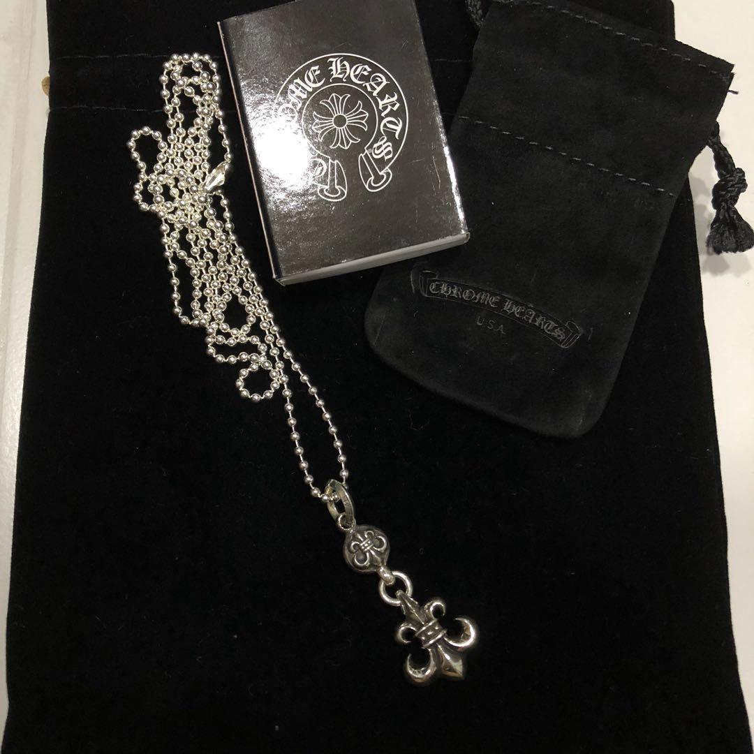 Chrome Hearts 925 silver Fleur De Lis Pendant with ball chain necklace
