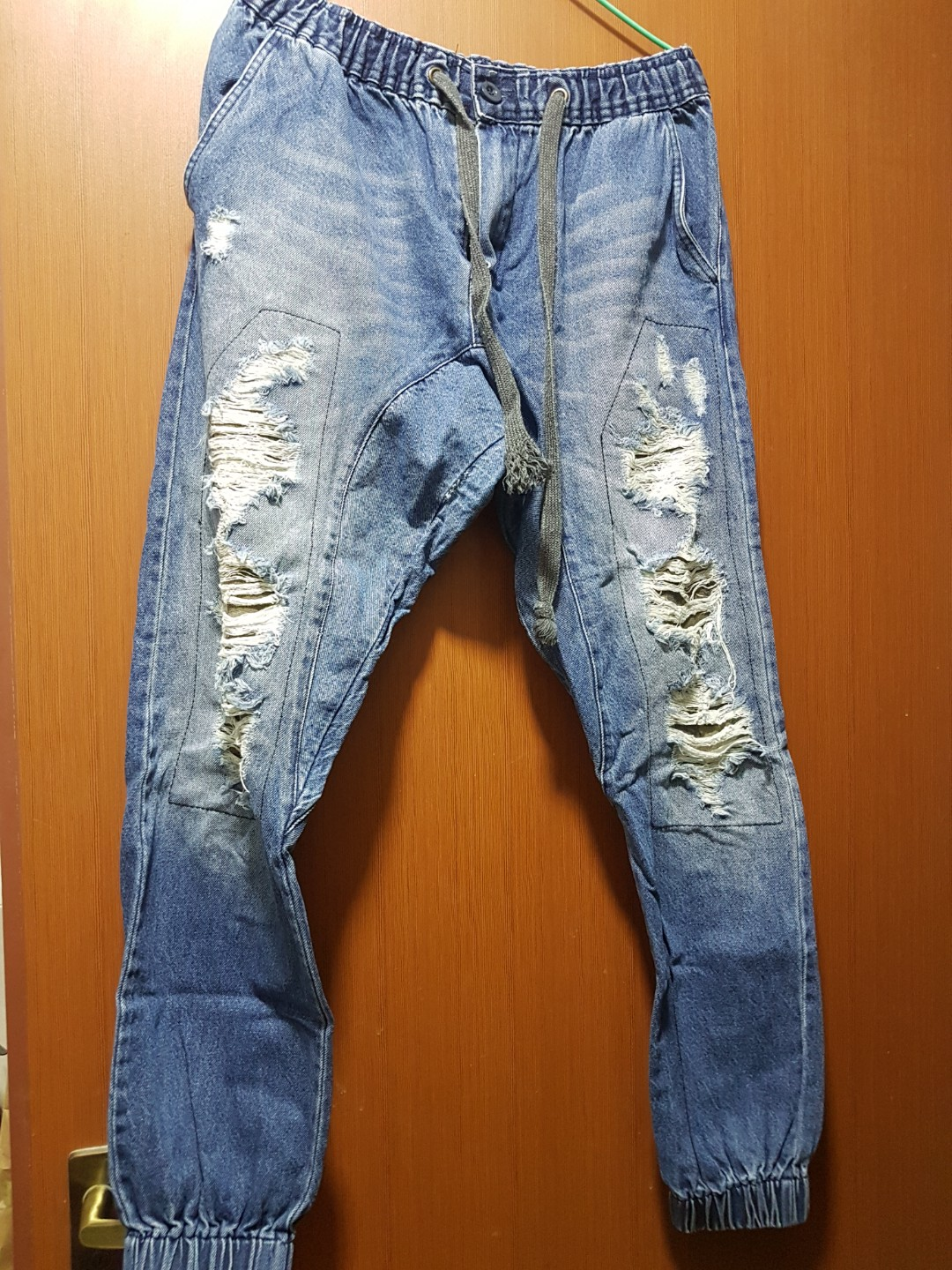 Denim Ripped Jogger Jeans Womens Fashion Clothes Pants Joger Riped Photo
