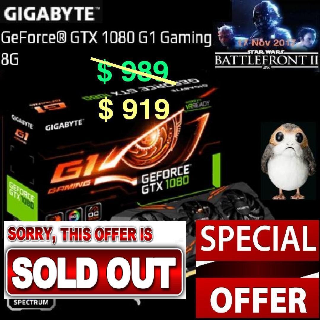 Gigabyte GTX 1080 G1 Gaming 8G GeForce® ( Special Offer till 23 Apr  18    Ends, Monday)