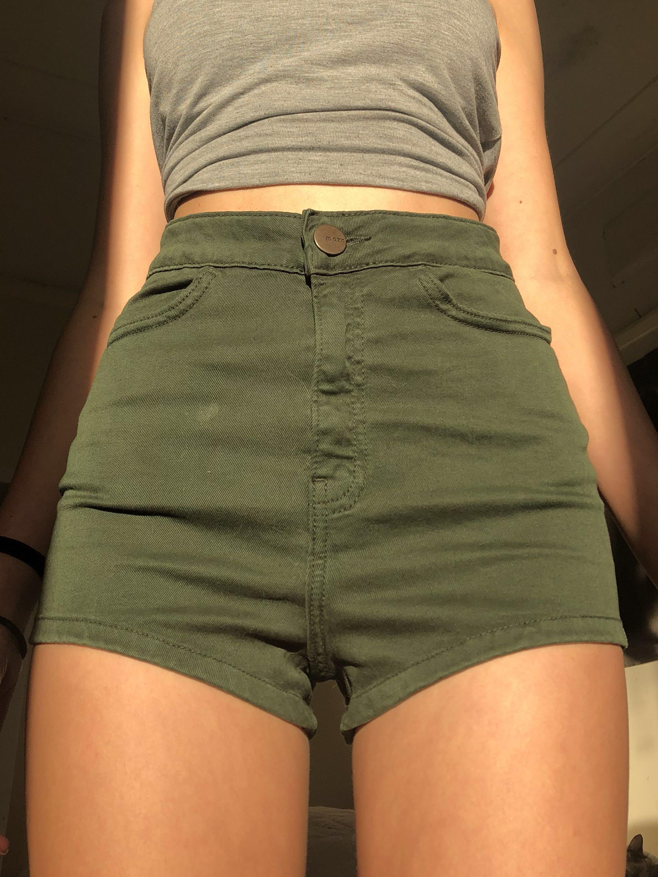 Green Faux Denim Shorts