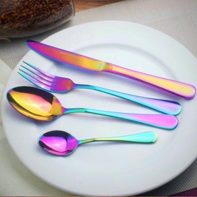 Instock Holographic Iridescent Electroplated Rainbow Cutlery