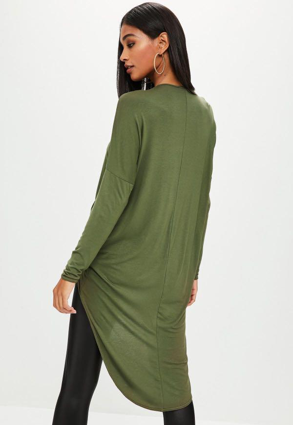 Khaki Drape Twist Front Long Sleeve Tunic Size XS
