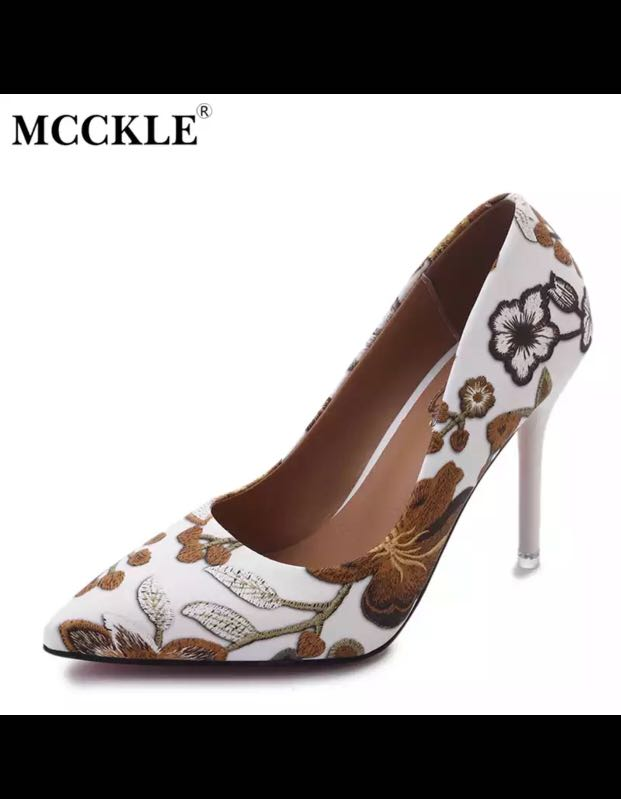 924d7db994facd MCCKLE Wo High men Pumps Heel Shoes Pointed Flower Pattern Sexy High Heel  Female Heels Ladies Dress Shoes Stilettos