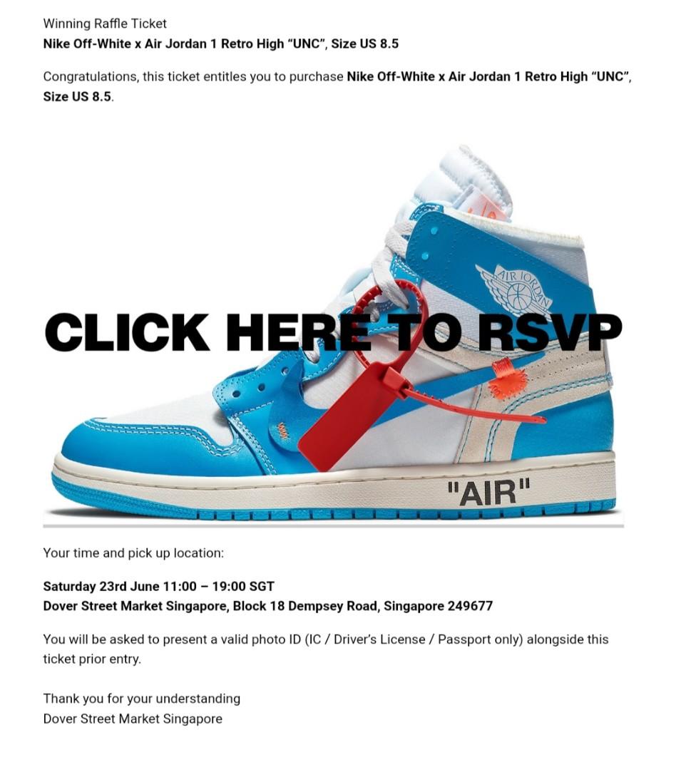 "e3315efa7d9082 US 8.5 - Nike Off-White x Air Jordan 1 Retro High ""UNC"""