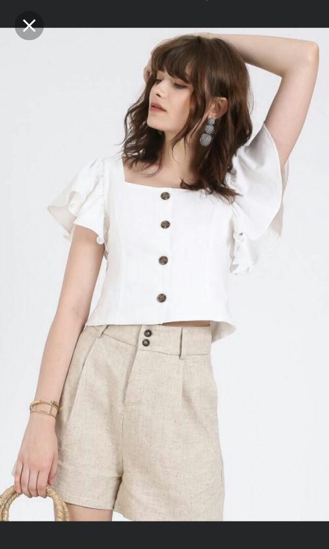 3b7321c531c37 Reformation zara inspired flutter sleeve button down linen top ...
