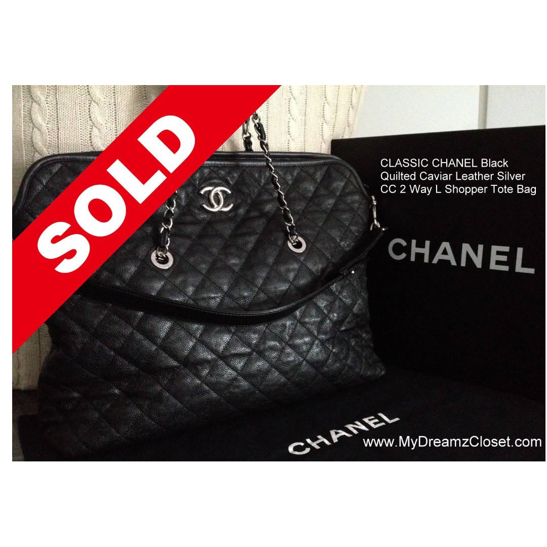 06ac2c54dccd SOLD - CLASSIC CHANEL Black Quilted Soft Caviar Leather Silver CC 2 ...