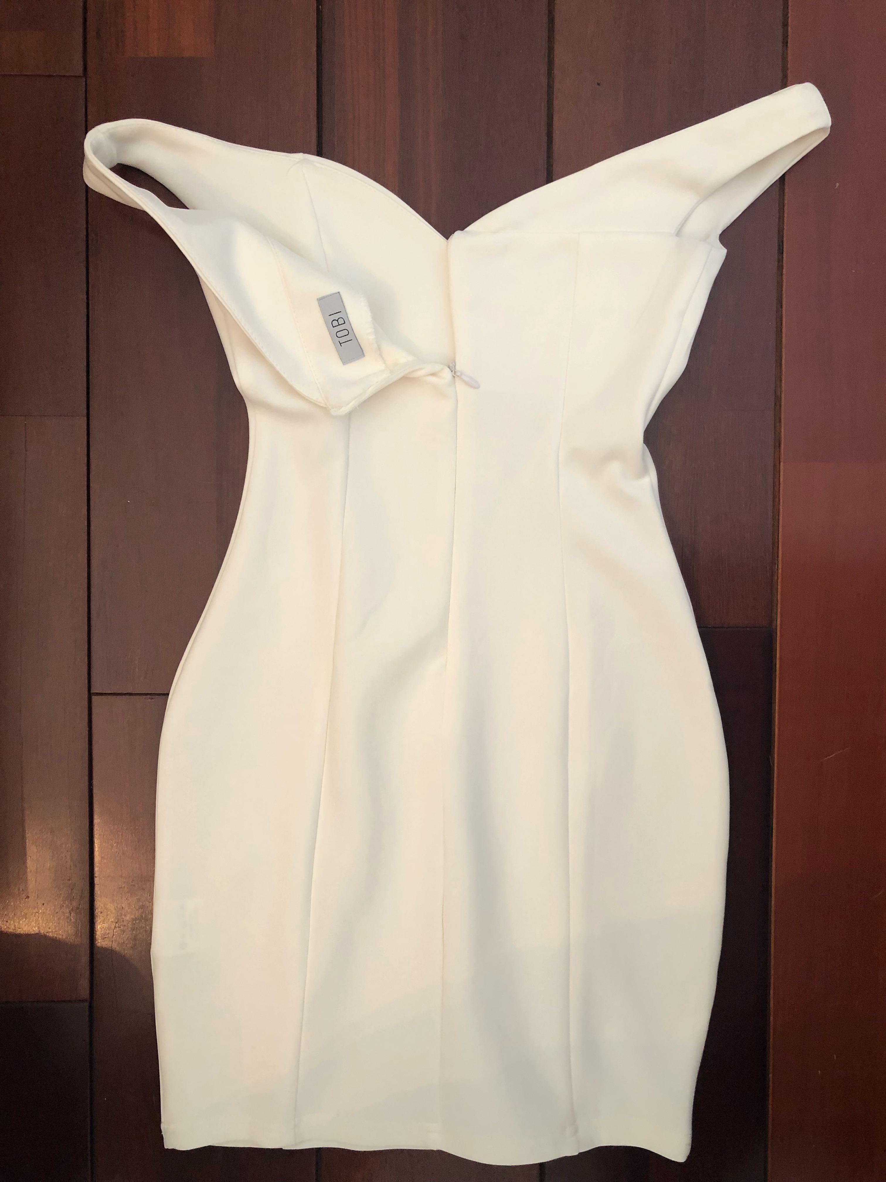 TOBI Bardot Mini White Dress