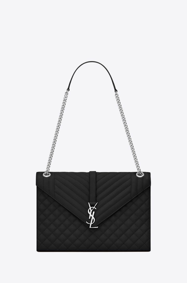 e745ef2da8 YSL Saint Laurent Large Envelope Chain Bag in Black with Gold ...