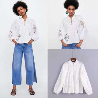 2018 European Station Bow Embroidery Cutout Smock
