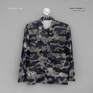 Kemeja floral camouflage army (made in Korea)