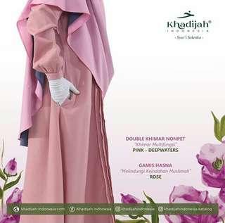 Double khimar nonpet pink deepwater mix gamis hasna rose by khadijah