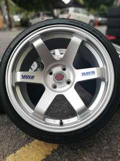 Te37sl 17 inch sports rim vios tyre 70% *montop montop bosku*