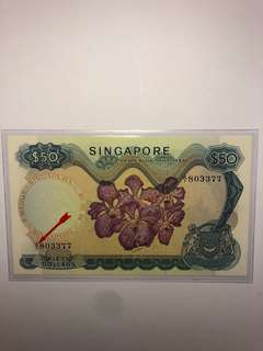 Singapore Orchid series LKS $50 A/1 803377 First Prefix UNC