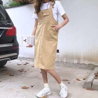 🚚 【YC®】全新韓版卡其色吊帶裙