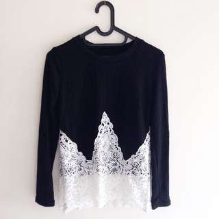 NEW - Black And White Knit Brokat - Bangkok