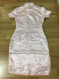 Pink Cheongsam with Flower Embroidery