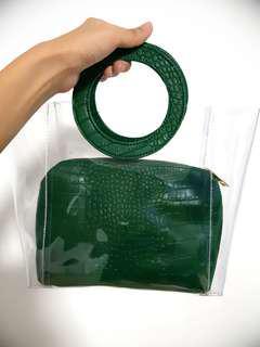 GG5 Croc Clear Tote Eggshell Bag - Green