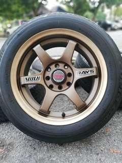 Te37 15 inch sports rim iriz tyre 70%. *mora mora jual sahaja*