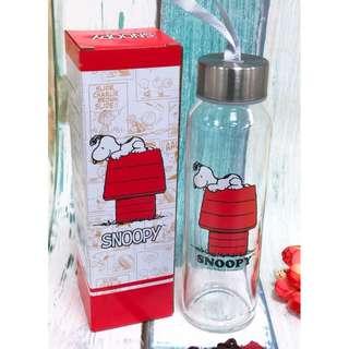 史努比 玻璃水瓶 snoopy 史奴比 耐熱玻璃水瓶 水瓶 隨手瓶 全新 現貨 正版 可愛 台灣製造