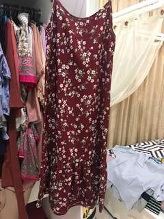 Maroon flowery dress