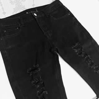 Moscato Black Ripped Jeans Celana Robek
