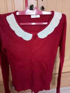 Cardigan Rajut Merah