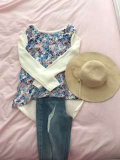 Women's Floral Pastel Cream Off-White Thin Knit Size 8 S Small Perfect Condition