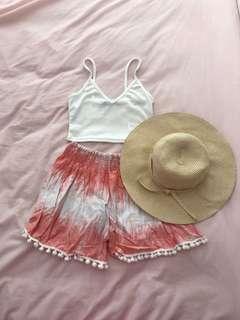 Women's Boho Festival Flowy Loose Fitting Peach/White Shorts Pom Poms Size 6-8