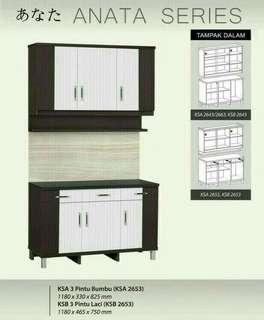 Kitchen set 3p atas rak 3p bawah laci