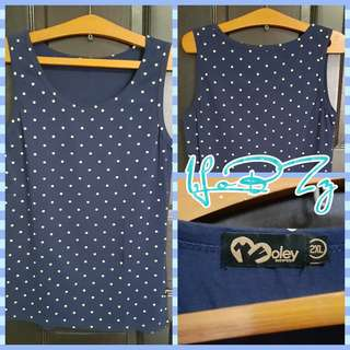 🚚 Morley Navy Polka Dotted Sleeveless Top (Size XL)