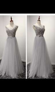 🚚 INSTOCK .Wedding Gown silver prom dress  bridesmaids