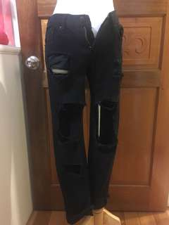 🚚 二手-歐美破褲黑色基本款小寬筒破褲牛仔褲長褲👑S號25號