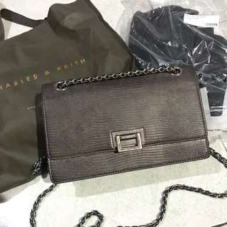 Charles and Keith pewter chain crossbody sling bag