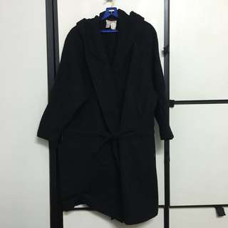 Vintage black wool trench coat hood hoodie made in France woollen