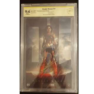 """Wonder Woman #31 New York Comic Convention Exclusive Foil Cover Variant,Limited Edition (Poly-bag Sealed), #31 CBCS 9.6 SS (2017) CBCS 9.6 Signed by Wonder Woman herself, GAL GADOT! Rare & Sizzling HOT!!! """"One To Read,One To Keep"""" Series.!"""