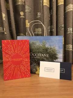 L'occitane (Loccitane) Paper Carrier Bag + Paper Gift Bag + Gift Card Set.