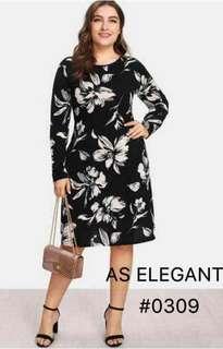 Spandex plus size floral dress