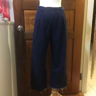 🚚 二手-Pazzo氣質設計款側邊鈕扣深藍色高腰寬褲寬筒褲牛仔褲長褲👑s號