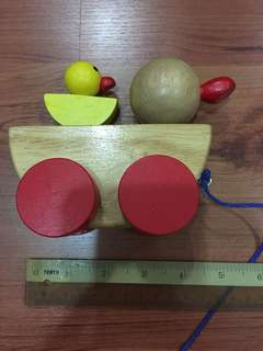 Wooden duck pull along toy