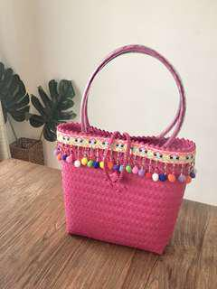 Woven bag! Bakul ! With pom pom